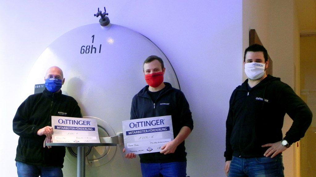 Ausgezeichnetes Engagement: Andreas Grap (Leiter Logistik/Versand), Thomas Brehm (Herstellung) und Philipp Zoch (Leiter Herstellung / v.l.).